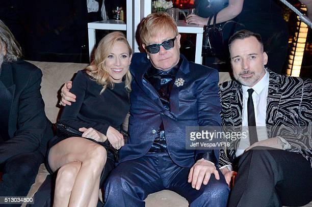 Musicians Sheryl Crow Elton John and David Furnish attend the 2016 Vanity Fair Oscar Party Hosted By Graydon Carter at the Wallis Annenberg Center...