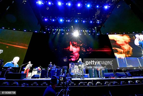 Musicians Simon Townshend Zak Starkey Roger Daltrey and Pete Townshend of The Who perform during Desert Trip at the Empire Polo Field on October 16...
