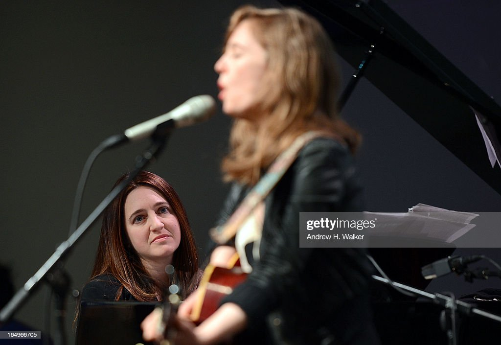 Musicians Simone Dinnerstein and Tift Merritt perform at Meet the Musicians at the Apple Store Soho on March 29, 2013 in New York City.