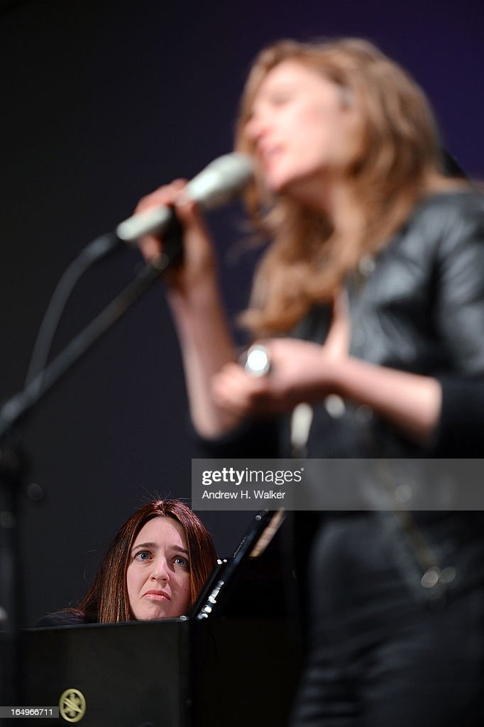 Musicians Simone Dinnerstein and <a gi-track='captionPersonalityLinkClicked' href=/galleries/search?phrase=Tift+Merritt&family=editorial&specificpeople=4950355 ng-click='$event.stopPropagation()'>Tift Merritt</a> perform at Meet the Musicians at the Apple Store Soho on March 29, 2013 in New York City.
