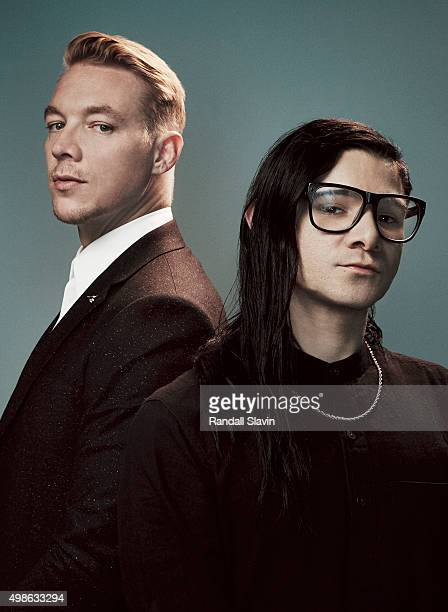 Musicians Skrillex and Diplo of Jack Ü pose for a portrait at the 2015 American Music Awards on November 22 2015 in Los Angeles California