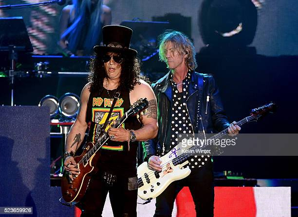Musicians Slash and Duff McKagan of Guns N' Roses perform onstage during day 2 of the 2016 Coachella Valley Music Arts Festival Weekend 2 at the...