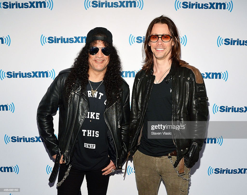 Musicians Slash and Myles Kennedy visit SiriusXM Studios on September 15 2014 in New York City
