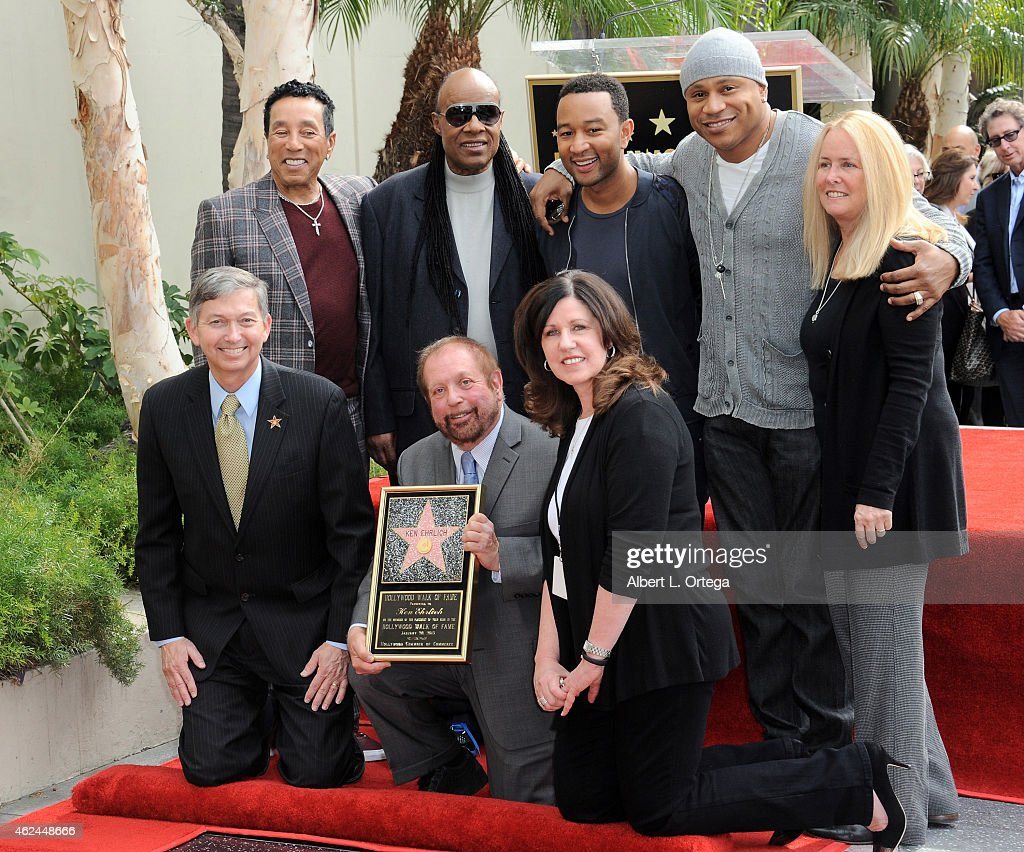 Musicians Smokey Robinson Stevie Wonder John Legend LL Cool J WOF CEO Leron Gubler and honoree Ken Ehrlich at the Ken Erhlich Star Ceremony On The...
