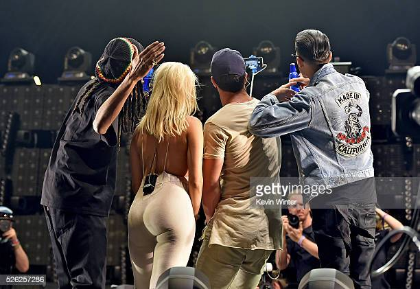 Musicians Snoop Dogg Bebe Rexha Sam Hunt and GEazy perform onstage during 2016 Stagecoach California's Country Music Festival at Empire Polo Club on...