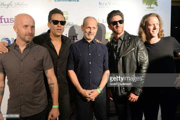 Musicians Sonny Mayo Wes Geer Wayne Kramer Nate Lawler and Brandon Jordan attend the second annual Rock for Recovery benefit concert at The Fonda...