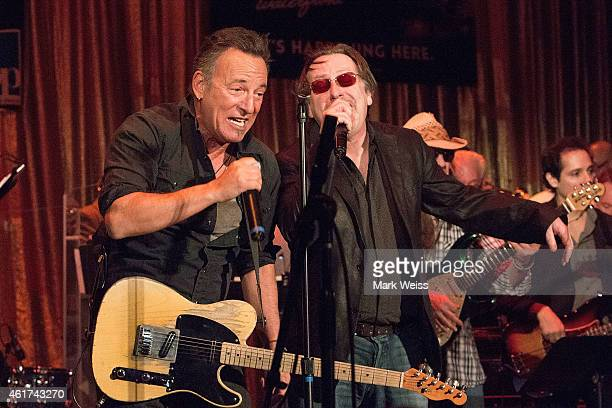 Musicians Southside Johnny and Bruce Springsteen perform at the Light Of Day Winterfest 2015 at the Paramount Theater on January 17 2015 in Asbury...