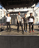 Musicians Spencer Ludwig Sebu Simonian Ryan Merchant Manuel Quintero and Channing Cook Holmes of Capital Cities perform on the Marilyn Stage during...