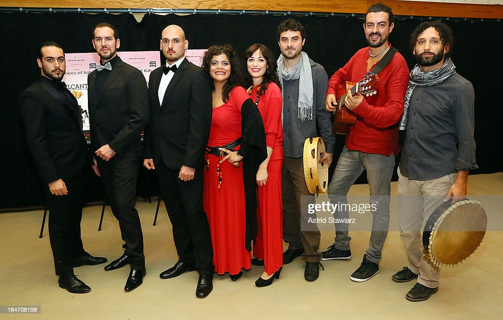 Musicians Stefano Tanzillo, Angelo Fiore, Michele Silvestri, Annalisa Madonna, Nicoletta Battelli, Riccardo Schmitt, Gianni Migliaccio and Beppe Gargiulo perform during the 'Voices Of Italy' press preview on October 15, 2013 in New York, United States.