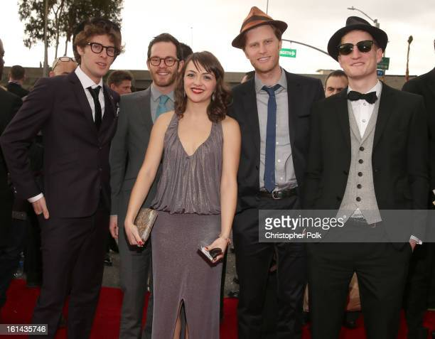 Musicians Stelth Ulvang Ben Wahamaki Neyla Pekarek Wesley Schultz and Jeremiah Fraites of The Lumineers attend the 55th Annual GRAMMY Awards at...