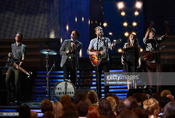 Musicians Stelth Ulvang Jeremiah Fraites Wesley Schultz Neyla Pekarek and Ben Wahamaki of the Lumineers perform onstage at the 55th Annual GRAMMY...