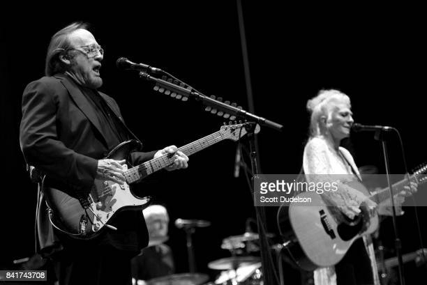 Musicians Stephen Stills and Judy Collins perform onstage during the 'Stills Collins' tour at Saban Theatre on September 1 2017 in Beverly Hills...