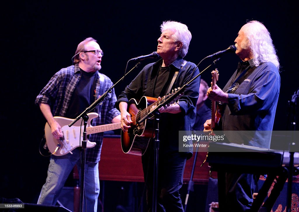 Musicians Stephen Stills Graham Nash and David Crosby of Crosby Stills and Nash perform at a 'No On Proposition 32' concert at the Nokia Theatre LA...