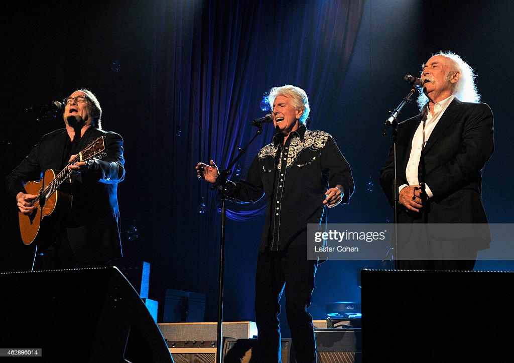Musicians Stephen Stills Graham Nash and David Crosby of Crosby Stills Nash perform onstage at the 25th anniversary MusiCares 2015 Person Of The Year...