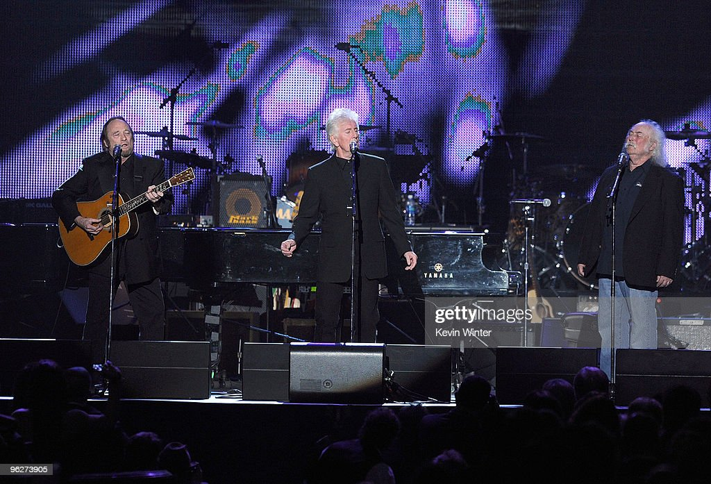 Musicians Stephen Stills Graham Nash and David Crosby of Crosby Stills Nash perform onstage at the 2010 MusiCares Person Of The Year Tribute To Neil...