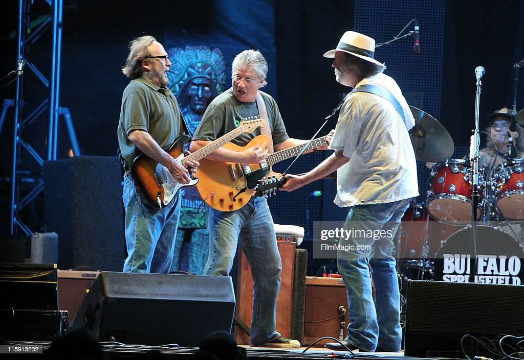 Musicians Stephen Stills, Richie Furay and Neil Young Buffalo Springfield perform on stage during Bonnaroo 2011 at Which Stage on June 11, 2011 in Manchester, Tennessee.
