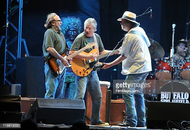 Musicians Stephen Stills Richie Furay and Neil Young Buffalo Springfield perform on stage during Bonnaroo 2011 at Which Stage on June 11 2011 in...