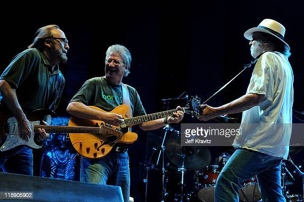 Musicians Stephen Stills Richie Furay and Neil Young of Buffalo Springfield performs on stage during Bonnaroo 2011 at Which Stage on June 11 2011 in...
