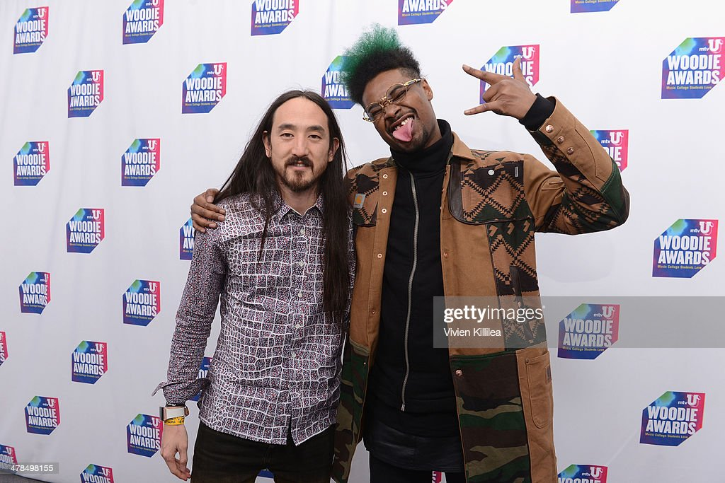 Musicians <a gi-track='captionPersonalityLinkClicked' href=/galleries/search?phrase=Steve+Aoki&family=editorial&specificpeople=732001 ng-click='$event.stopPropagation()'>Steve Aoki</a> (L) and Danny Brown attend the 2014 mtvU Woodie Awards and Festival on March 13, 2014 in Austin, Texas.