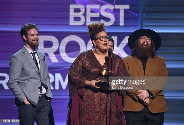 Musicians Steve Johnson Brittany Howard and Zac Cockrell of Alabama Shakes accept the Best Rock Performance award for 'Don't Wanna Fight' onstage...