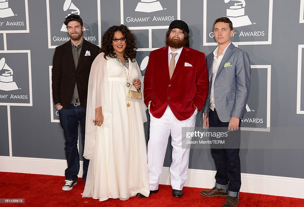 Musicians Steve Johnson, <a gi-track='captionPersonalityLinkClicked' href=/galleries/search?phrase=Brittany+Howard&family=editorial&specificpeople=8343255 ng-click='$event.stopPropagation()'>Brittany Howard</a>, Zac Cockrell and Heath Fogg of Alabama Shakes arrive at the 55th Annual GRAMMY Awards at Staples Center on February 10, 2013 in Los Angeles, California.