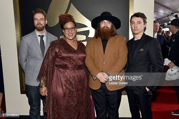 Musicians Steve Johnson Brittany Howard Zac Cockrell and Heath Fogg of Alabama Shakes winners of Best Alternative Music Album for 'Sound Color'...