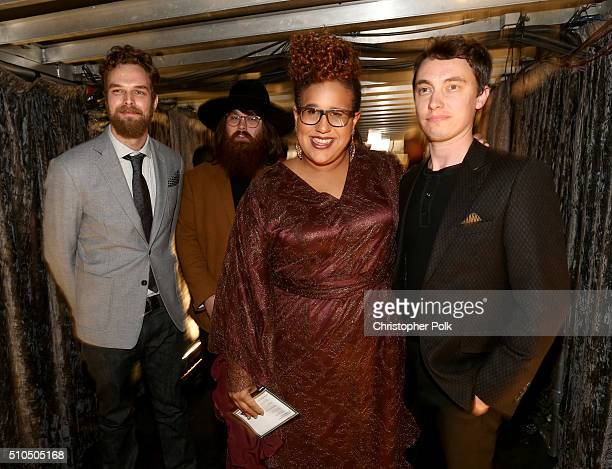 Musicians Steve Johnson Zac Cockrell Brittany Howard and Heath Fogg of Alabama Shakes attend The 58th GRAMMY Awards at Staples Center on February 15...
