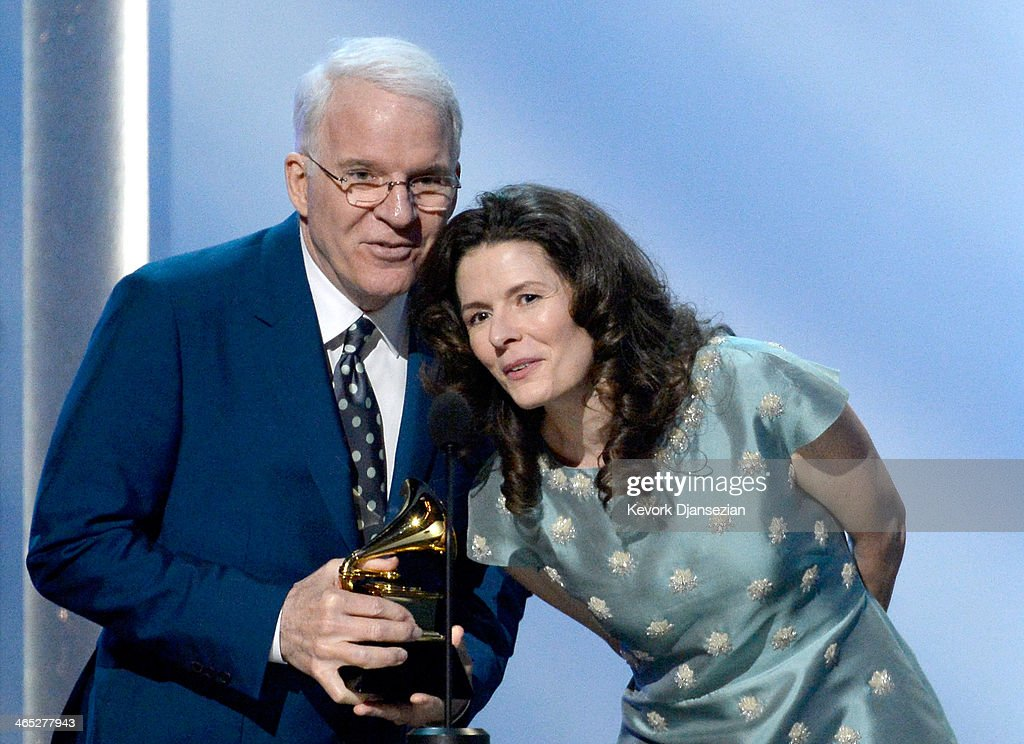 Musicians Steve Martin and Edie Brickell accept the Best American Roots Song award for 'Love Has Come For You' onstage during the 56th GRAMMY Awards Pre-Telecast Show at Nokia Theatre L.A. Live on January 26, 2014 in Los Angeles, California.