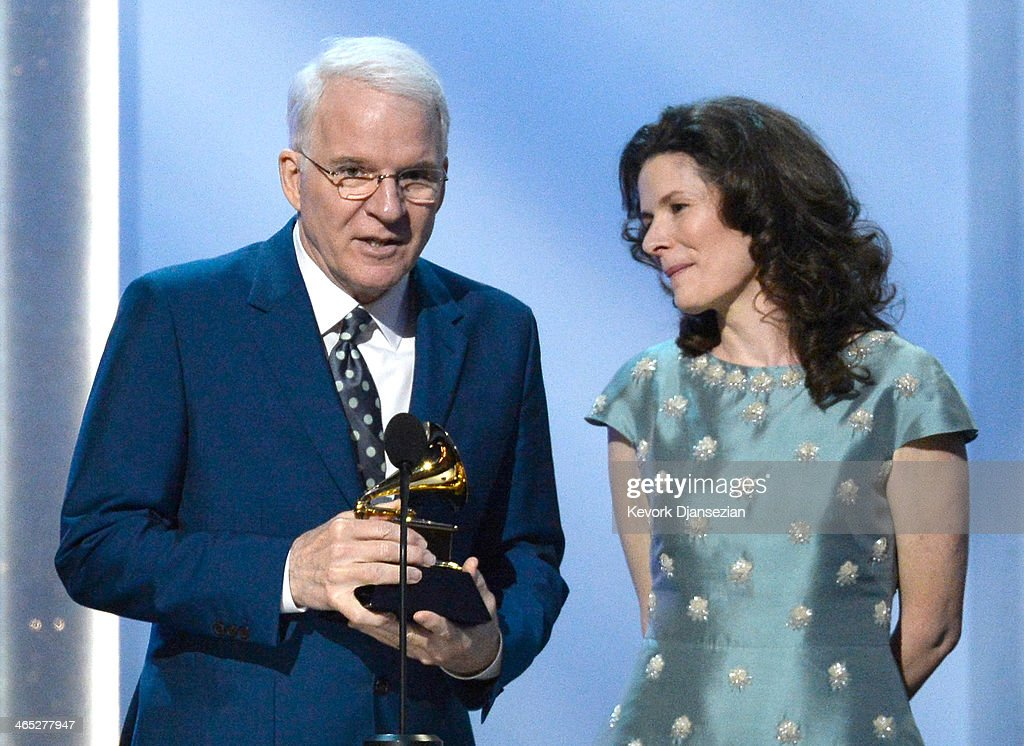 Musicians <a gi-track='captionPersonalityLinkClicked' href=/galleries/search?phrase=Steve+Martin+-+Comedian&family=editorial&specificpeople=196544 ng-click='$event.stopPropagation()'>Steve Martin</a> and <a gi-track='captionPersonalityLinkClicked' href=/galleries/search?phrase=Edie+Brickell&family=editorial&specificpeople=789872 ng-click='$event.stopPropagation()'>Edie Brickell</a> accept the Best American Roots Song award for 'Love Has Come For You' onstage during the 56th GRAMMY Awards Pre-Telecast Show at Nokia Theatre L.A. Live on January 26, 2014 in Los Angeles, California.