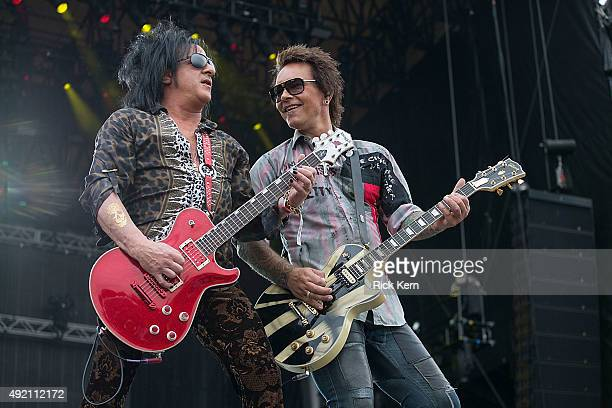 Musicians Steve Stevens and Billy Morrison perform onstage with Billy Idol during weekend two day one of Austin City Limits Music Festival at Zilker...