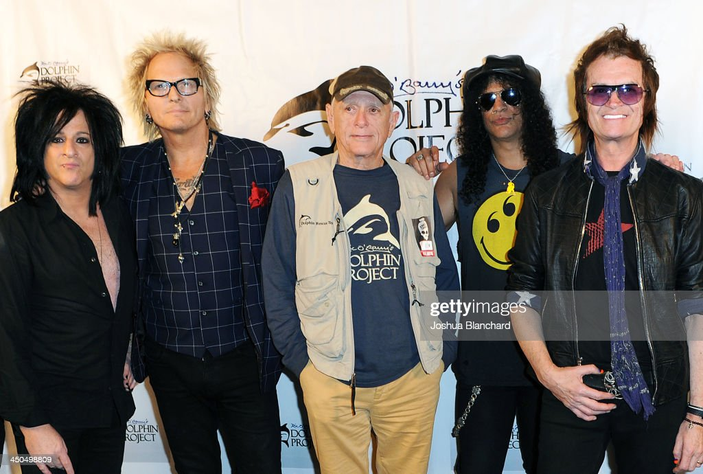 Musicians <a gi-track='captionPersonalityLinkClicked' href=/galleries/search?phrase=Steve+Stevens&family=editorial&specificpeople=225031 ng-click='$event.stopPropagation()'>Steve Stevens</a>, <a gi-track='captionPersonalityLinkClicked' href=/galleries/search?phrase=Matt+Sorum&family=editorial&specificpeople=213836 ng-click='$event.stopPropagation()'>Matt Sorum</a>, Activist Ric O'Barry, Slash and Glenn Hughes arrive at the Avalon for Kings of Chaos Tokyo Celebrates The Dolphin Benefit Concert on November 18, 2013 in Hollywood, California.
