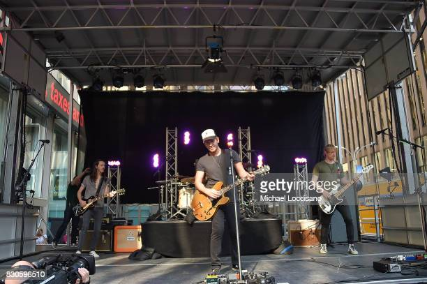 Musicians Steve Stout Jason Wade and Bryce Soderberg of Lifehouse perform on Fox Friends' AllAmerican Summer Concert Series at FOX Studios on August...