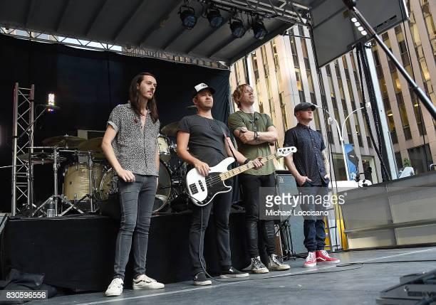 Musicians Steve Stout Jason Wade and Bryce Soderberg Rick Woolstenhulme Jr of Lifehouse appear on Fox Friends' AllAmerican Summer Concert Series at...