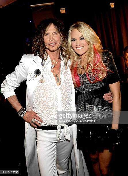 Musicians Steven Tyler and Carrie Underwood backstage at the 46th Annual Academy Of Country Music Awards held at the MGM Grand Garden Arena on April...