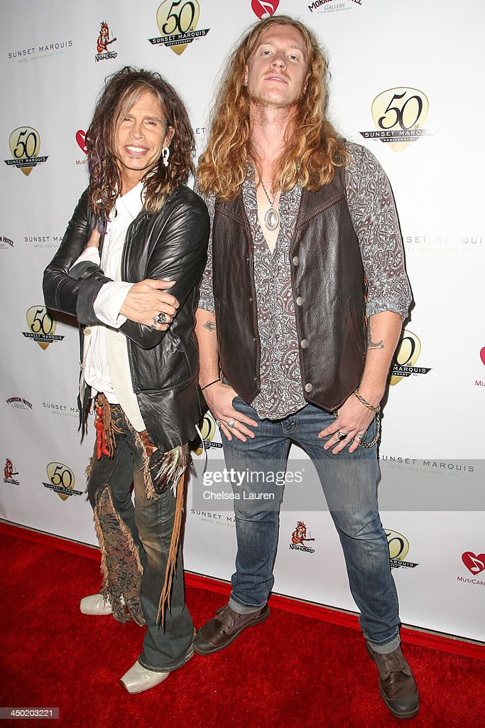 Musicians Steven Tyler (L) and Jared James Nichols arrive at the Sunset Marquis Hotel 50th anniversary birthday bash at Sunset Marquis Hotel & Villas on November 16, 2013 in West Hollywood, California.