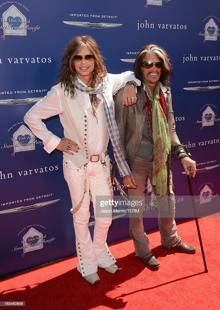 Musicians <a gi-track='captionPersonalityLinkClicked' href=/galleries/search?phrase=Steven+Tyler+-+Musician&family=editorial&specificpeople=202080 ng-click='$event.stopPropagation()'>Steven Tyler</a> (L) and <a gi-track='captionPersonalityLinkClicked' href=/galleries/search?phrase=Joe+Perry+-+Musician&family=editorial&specificpeople=13600677 ng-click='$event.stopPropagation()'>Joe Perry</a> attend the John Varvatos 10th Annual Stuart House Benefit presented by Chrysler, Kids Tent by Hasbro Studios, at John Varvatos Los Angeles on March 10, 2013 in Los Angeles, California.