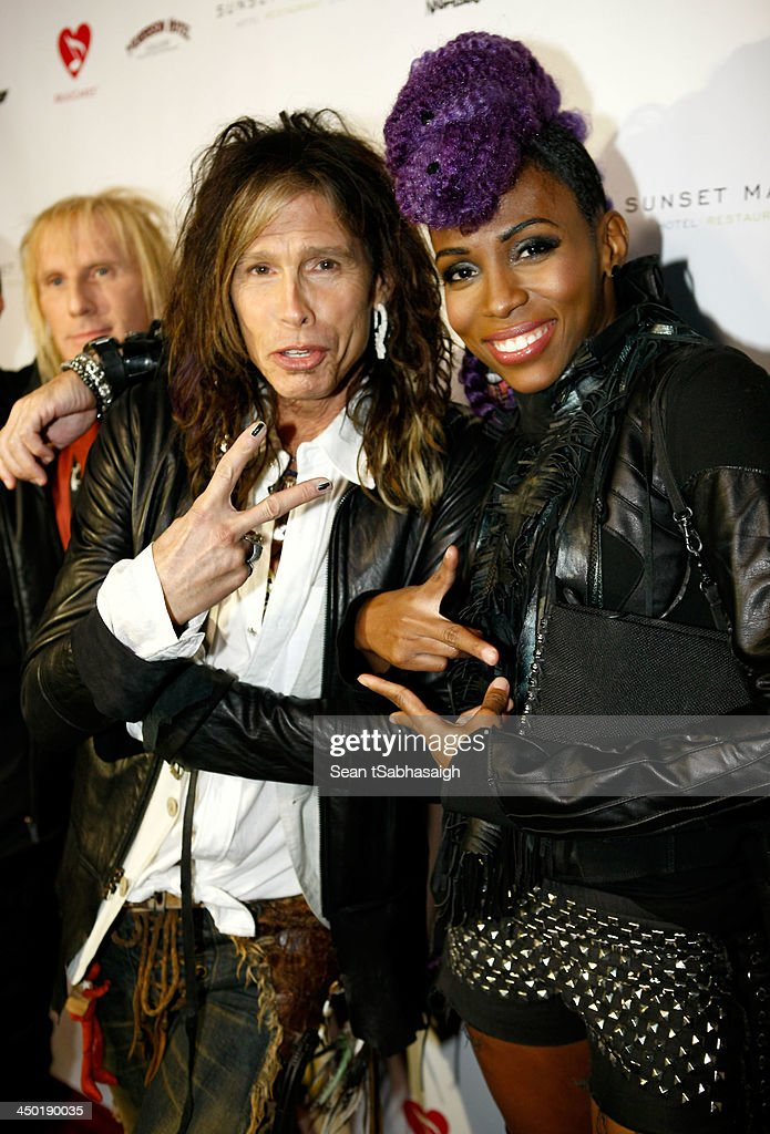 Musicians Steven Tyler (L) and Nik West attend the Sunset Marquis Hotel 50th Anniversary Birthday Bash at Sunset Marquis Hotel & Villas on November 16, 2013 in West Hollywood, California.