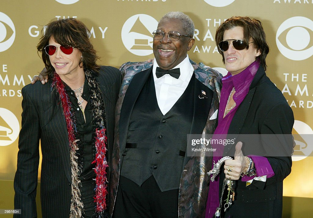 Musicians Steven Tyler, B.B. King, and Joe Perry arrive at the 46th Annual Grammy Awards held at the Staples Center on February 8, 2004 in Los Angeles, California.