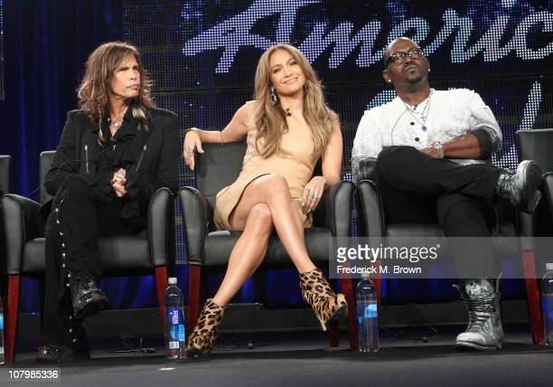 Musicians Steven Tyler Jennifer Lopez and producer Randy Jackson speak onstage during the 'American Idol' panel at the FOX Broadcasting Company...