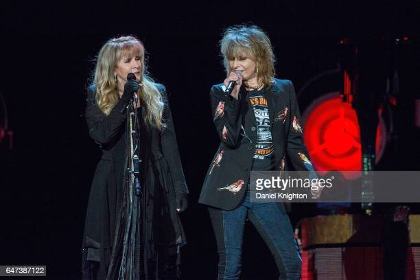 Musicians Stevie Nicks and Chrissie Hynde perform on stage at Viejas Arena on March 2 2017 in San Diego California