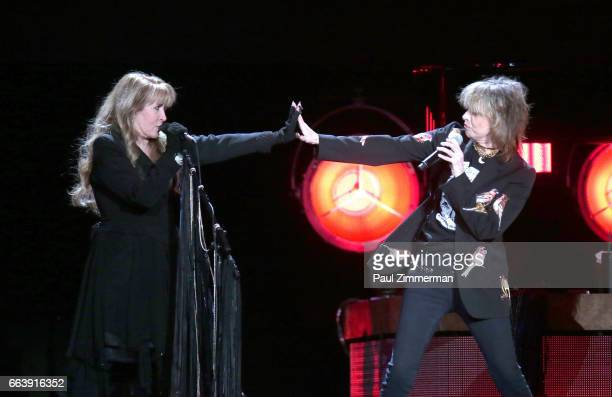 Musicians Stevie Nicks and Chrissie Hynde perform onstage at the Prudential Center on April 2 2017 in Newark New Jersey