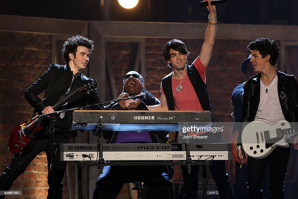 Musicians Stevie Wonder and The Jonas Brothers performing onstage at the 51st Annual GRAMMY Awards held at the Staples Center on February 8 2009 in...