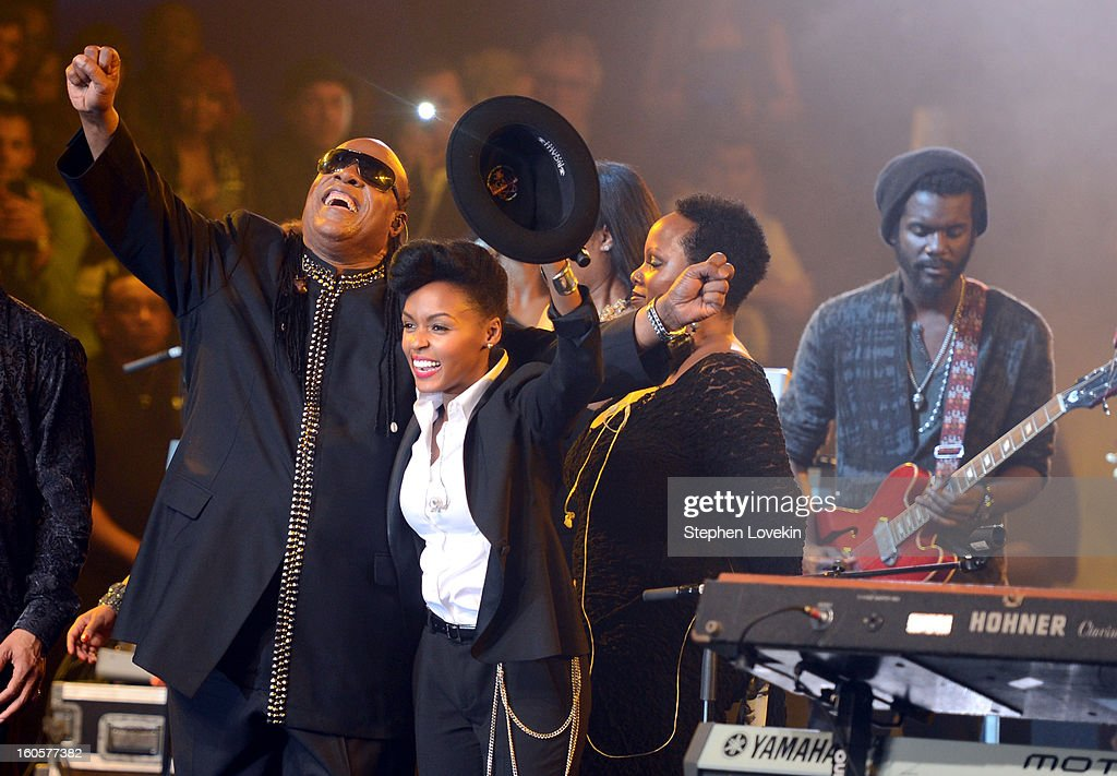 Musicians Stevie Wonder, Janelle Monae and Gary Clark Jr. (far right) perform onstage at Bud Light Presents Stevie Wonder and Gary Clark Jr. at the Bud Light Hotel on February 2, 2013 in New Orleans, Louisiana.