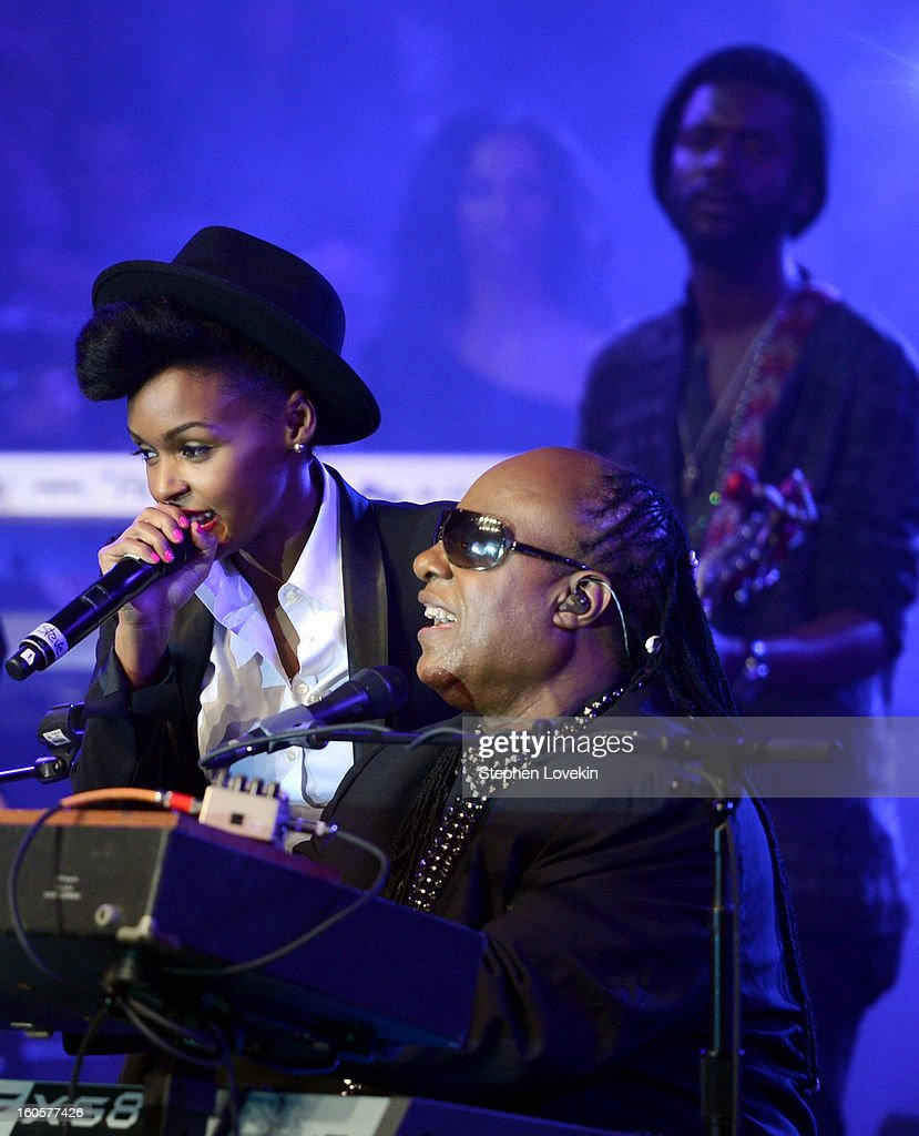 Musicians Stevie Wonder, Janelle Monae and Gary Clark Jr. perform onstage at Bud Light Presents Stevie Wonder and Gary Clark Jr. at the Bud Light Hotel on February 2, 2013 in New Orleans, Louisiana.