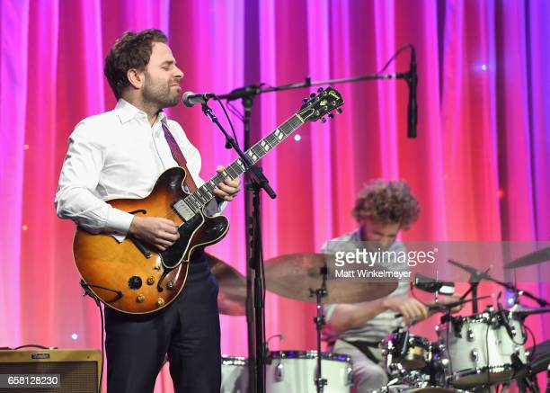 Musicians Taylor Goldsmith and Griffin Goldsmith of Dawes perform onstage at the Venice Family Clinic Silver Circle Gala 2017 honoring Sue Kroll and...