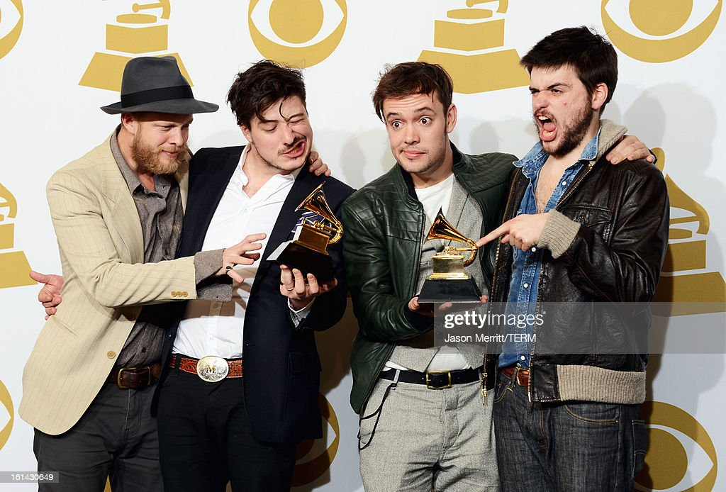 Musicians Ted Dwane Marcus Mumford Ben Lovett and Country WinstonMarshall of Mumford Sons winners of Best Long Form Music Video and Album of the Year...