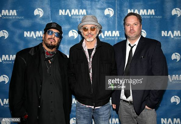 Musicians Teddy Andreadis Billy Bob Thornton and JD Andrew of 'The Boxmasters' attend the 2017 NAMM Show at the Anaheim Convention Center on January...