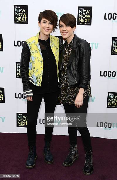 Musicians Tegan Quin and Sara Quin of Tegan And Sara arrive at the Logo NewNowNext Awards 2013 at The Fonda Theatre on April 13 2013 in Los Angeles...