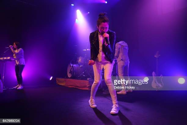 Musicians Tegan Quin and Sara Quin of Tegan and Sara perform on stage at Vicar Street on February 19 2017 in Dublin Ireland