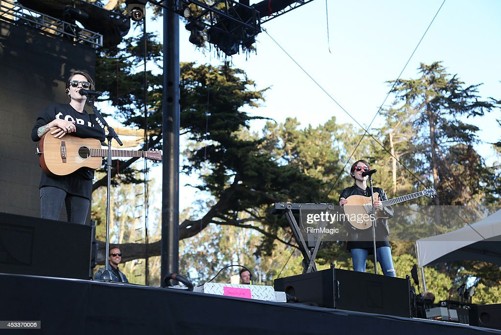 Musicians Tegan Quin (L) and Sara Quin of the band Tegan and Sara perform at the Twin Peaks Stage during day 1 of the 2014 Outside Lands Music and Arts Festival at Golden Gate Park on August 8, 2014 in San Francisco, California.